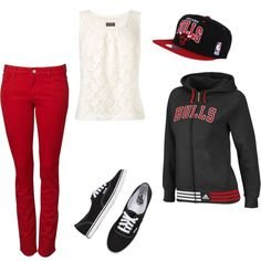Chicago bulls these threads say it all chicago bulls outfit, Winter Outfits, Casual Outfits, Cute Outfits, Chicago Bulls Outfit, Casual Chic, Daddy, Swagg, Dress To Impress, Style Me
