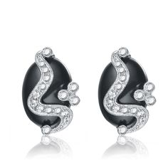 Collette Z Sterling Silver Clear Cubic Zirconia and White Swirl Earrings