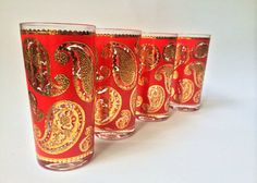 Rare Culver Paisley Glasses 4 by RetroAesthetic on Etsy #culver #midcentury #vintagebar
