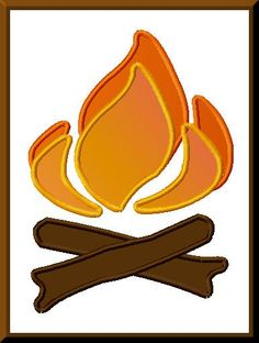 Camping Fishing Campfire Applique Design For Embroidery Machines   Applicakes - Needlecraft on ArtFire