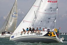 The Beneteau First 40 yacht 'Lancelot II' racing in the Solent during Cowes Week 2013.