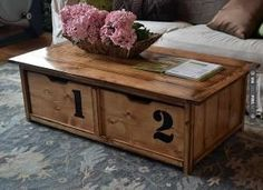 Ana White DIY Coffee Table w/ toy drawers -- Ok I LOVE this and it's genius! I wish I had more space for a substantial coffee table. Diy Storage Coffee Table, Build A Coffee Table, Coffee Table Plans, Diy Table, Coffee Tables, Table Storage, Coffee Table With Drawers, Ikea Table, Ana White