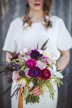 Magenta & purple bouquet - Wedding Colours, Wedding Themes, Wedding colour palettes