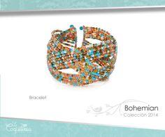 Varias ristras de cuentas mezcladas en tonos turquesa, coral, perla y bronce entrecruzadas, forman este brazalete flexible. Se ajusta a la medida. #bracelet #brazalete #accesories #beautiful #lacoqueteria #fashion  #shoppingonline #tiendaenlinea #mexico #accesorios