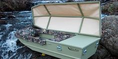 Glory Boats are boat caskets designed to convey the mortal remains of outdoors enthusiasts to that glorious, final harbor. Fishing Rod Rack, Fishing Vest, Bass Fishing, Fishing Box, Fishing Tackle, Crappie Fishing, Fishing Guide, Fishing Gifts, Fishing Boats For Sale