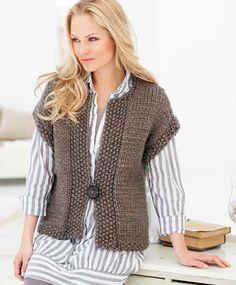 Ideas of free chunky knitting patterns free patterns? yes please NIBJLYP - Crochet and Knit : Popular free chunky knitting patterns knit a sleeveless v-neck sweater: free knitting pattern YUKAUJF Knit Vest Pattern, Crochet Jacket, Knit Jacket, Crochet Shrugs, Free Crochet, Bolero Pattern, Easy Crochet, Free Chunky Knitting Patterns, Knit Patterns