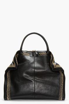 ALEXANDER MCQUEEN Black leather studded De Manta City tote
