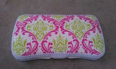 Pink and Green Damask Wipe Case Free by LilyBeanCouture on Etsy, $10.00