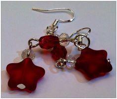 Red stars dangle earrings on Etsy, $13.00