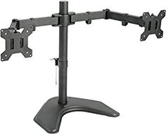 "VIVO Dual LCD Monitor Free Standing Desk Mount with Optional bolt-through mount / Stand Heavy Duty Fully Adjustable fits 2 /Two Screens up to 27"". *Click Image For More Details*."