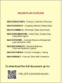 Sales Plan Outline Sample This Image Shows An Outline Of A Sample Sales Plan  That Contains; Sales Objectives, Sales Strategy, Sales Channels, Salesu2026