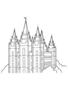Coloring page for Primary class Family at the Temple LDS Mormon
