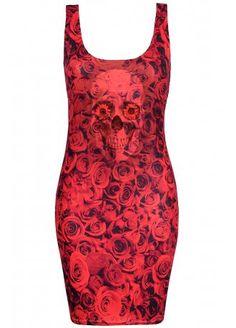 Skull Rose Bodycon Dress   Attitude Extreme