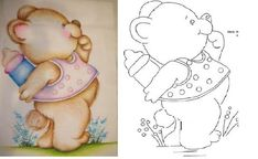 Stencil Painting, Painting Patterns, Fabric Painting, Coloring Book Pages, Coloring Pages For Kids, Baby Shower Clipart, Brazilian Embroidery Stitches, Teddy Bear Pictures, Country Paintings
