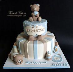 Baptism cake - Cake by Clara Torta Baby Shower, Baby Shower Deco, Baby Shower Parties, Baby Shower Themes, Baby Boy Shower, Baby Birthday Cakes, Baby Boy Cakes, Cakes For Boys, Baby Christening Cakes