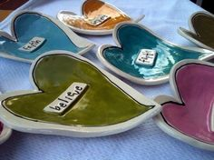 Funky Heart Dishes set of 3 van Mypolkadotpottery op Etsy, $25,00