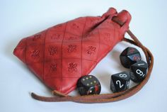 Red Leather  Fleur de Lis Drawstring Coin Purse/Dice by Warclad