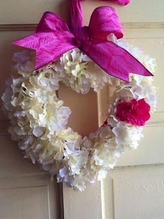 White Silk hydrangea heart shaped wreath