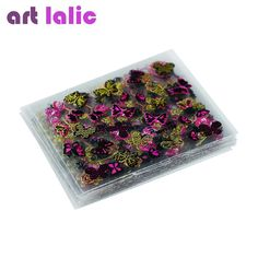 Artlalic 24 Pcs Flowers Butterfly Pattern Stamping 3D Nail Sticker Charms Bronzing Nails Art Decal