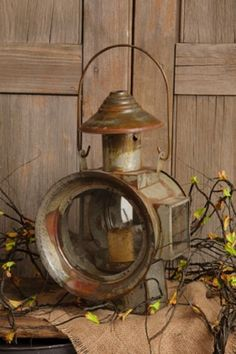 Large RAILROAD TRAIN LANTERN Candle Holder*Metal*Glass*Reflector Mirror