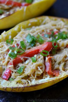 Healthy, low carb Thai Spaghetti Squash is flavor packed with a spectacular peanut sauce and topped with scallions. Perfect lunch or dinner to make ahead.