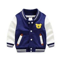 White & Navy Embroidered Bear Snap-Up Varsity Jacket for Baby & Boys, 49% discount @ PatPat Mom Baby Shopping App