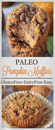 Paleo Pumpkin Muffins- easy healthy and delicious! Gluten free dairy free and refined sugar free. Paleo Pumpkin Muffins- easy healthy and delicious! Gluten free dairy free and refined sugar free. Paleo Dessert, Dessert Sans Gluten, Healthy Sweets, Gluten Free Desserts, Dairy Free Recipes, Gluten Free Recipes, Whole Food Recipes, Dessert Recipes, Speggetti Recipes