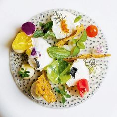 "3,268 Likes, 15 Comments - The Art of Plating (@theartofplating) on Instagram: ""Garden salad w/ basil seed jelly, wild flowers, tomato, goats cheese, and croutons by @gcalombaris…"""