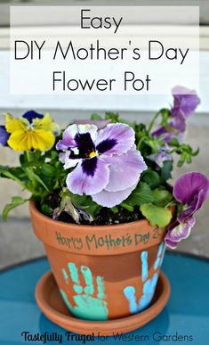 Mother's Day Flower Pots are the perfect gift for all the mothers in your life! A sweet and simple gift to bring a pop of color to her home and a smile to her face.