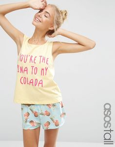 Image 1 of ASOS TALL You're The Pina To My Colada Vest & Short Pyjama Set