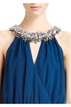 Erin Fetherston - Jocelyne Gown - Bridesmaid - The Wedding Shop Blue Chiffon with chunky jewel neckline for a classy bridesmaid