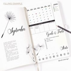 Dandelion Monthly Log Printable Bullet Journal Insert | Etsy