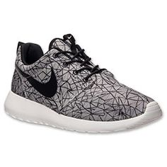 Men's Nike Roshe Run Graphic Premium Casual Shoes | FinishLine.com | Summit White/Black