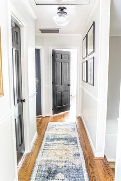 White Hallway, Hallway Walls, Upstairs Hallway, Hallway Colors, Hallway Paint, Hallway Wall Decor, Room Colors, Grey Interior Doors, Painted Interior Doors