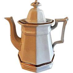 Livesley & Powell Ironstone China Coffee Pot w/Copper Lustre Decoration www.rubylane.com #vintage #coffeepot #lustre #copper #vintagekitchen