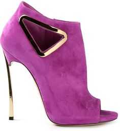 Casadei Purple and Gold 'Triangle' booties