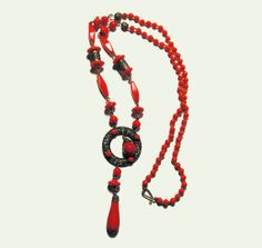20s Deco Necklace Red Glass Beaded Sautoir by MorningGlorious, $245.00