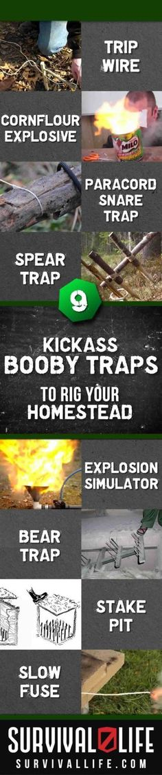 Booby Traps for DIY Home Security Emergency Preparedness and DIY Home Defense Ideas and Projects Survival Life Prepping and Gear Survival Weapons, Apocalypse Survival, Survival Life, Wilderness Survival, Camping Survival, Outdoor Survival, Camping Tips, Zombies Survival, Bushcraft Camping