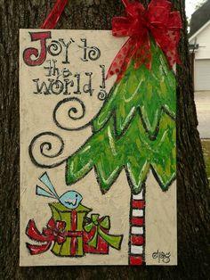 2014 Christmas canvas sign with ribbon - Christmas tree Signs, 2014 Christmas decorations #2014 #Christmas