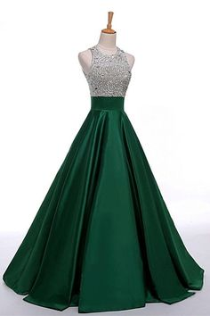 Satin Green Prom Dresses,Modest Prom Gowns,Beading Evening Dresses,Graduation