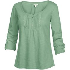 Fat Face Lace Placket T-Shirt ($20) ❤ liked on Polyvore featuring tops, t-shirts, shirts, long sleeves, green tea, green shirt, tee-shirt, lace shirt, round neck t shirt and long sleeve button shirt