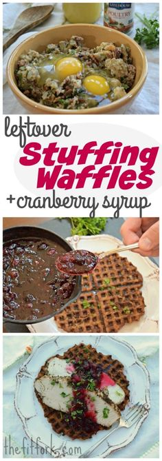 Leftover Stuffing Waffles with Cranberry Sauce Syrup -- a super easy, sublimely sweet and savory, and sensibly frugal way to use up Thanksgiving side dishes. Serve for breakfast, brunch, lunch or dinner! Way too much stuffing? Meal prep lots of waffles and store in freezer!