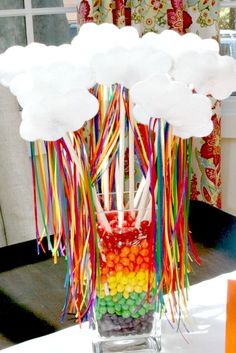 I really like these clouds on a stick w/ rainbow ribbons! | Rainbow Party Ideas | CatchMyParty.com
