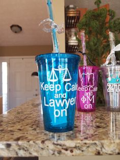 Keep Calm and Lawyer On insulated Tumbler for attorney by TAMstyle. Would be perfect for my office!
