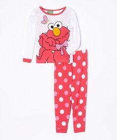 Another great find on #zulily! Sesame Street Red Polka Dot Elmo Pajama Set - Toddler by Sesame Street #zulilyfinds