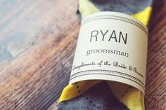 "Personalized, hand cut labels with stylish socks are an awesome way to say ""Thank you"" to the groomsmen (and a great way to make sure they don't show up in gym socks)! They also make for a great photo! See more here: http://aislealwayslove.com/collections/all/products/groomsman-socks-label"