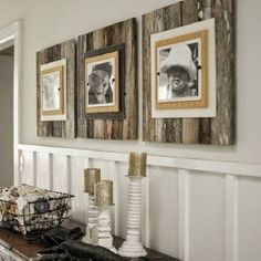 Wood Pallet Projects GOING COASTAL - Upcycling Interiors: 10 Top Pallet Ideas - really like the idea of using this in the nursery - maybe as a backdrop to letters spelling out his name? - 10 top pallet ideas for creating wonderful home interiors. Top Pallet Ideas, Pallet Pictures, Easy Pallet Projects, Pallett Ideas, Eclectic Frames, Reclaimed Wood Frames, Pallet Frames, Pallet Wood, Weathered Wood