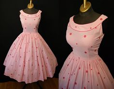 On Hold Lovely 1950s pink and white gingham and polka dot cotton new look sun dress vlv rockabilly pin up girl - size Medium to Large. $165,00, via Etsy.