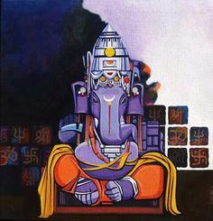ॐ ❤ Ganesha Drawing, Lord Ganesha Paintings, Ganesha Art, Silk Painting, Figure Painting, Ganesh Wallpaper, Hindu Deities, Hinduism, Indian Folk Art
