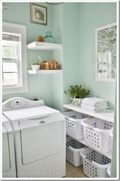 laundry room decorating ideas / laundry room storage ideas / laundry room photos / laundry room organizers and storage / small laundry room ideas / laundry room makeover ideas / laundry room decor / laundry room signs decor / small laundry room pictures Laundry Room Storage, Laundry In Bathroom, Laundry Baskets, Laundry Rooms, Laundry Area, Laundry Room Colors, Laundry Shelves, Laundry Closet, Washing Baskets